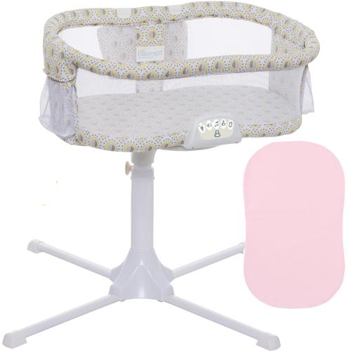 Halo Swivel Sleeper Bassinet Luxe Series Lemondrop with Pink Fitted SHeet by