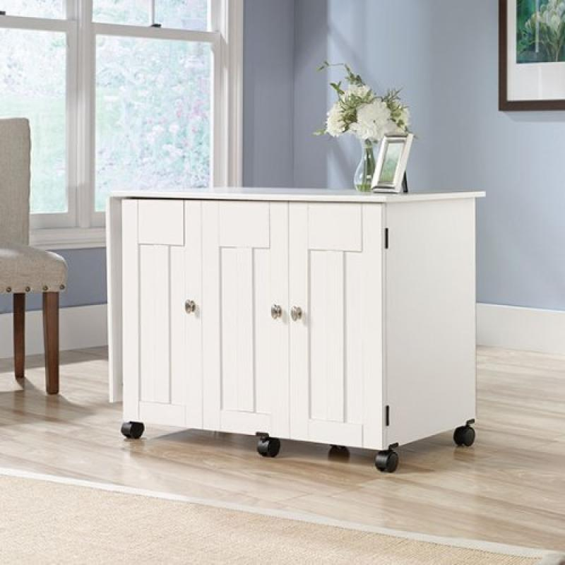 Sauder Office Furniture Sewing Craft Cart in Soft White