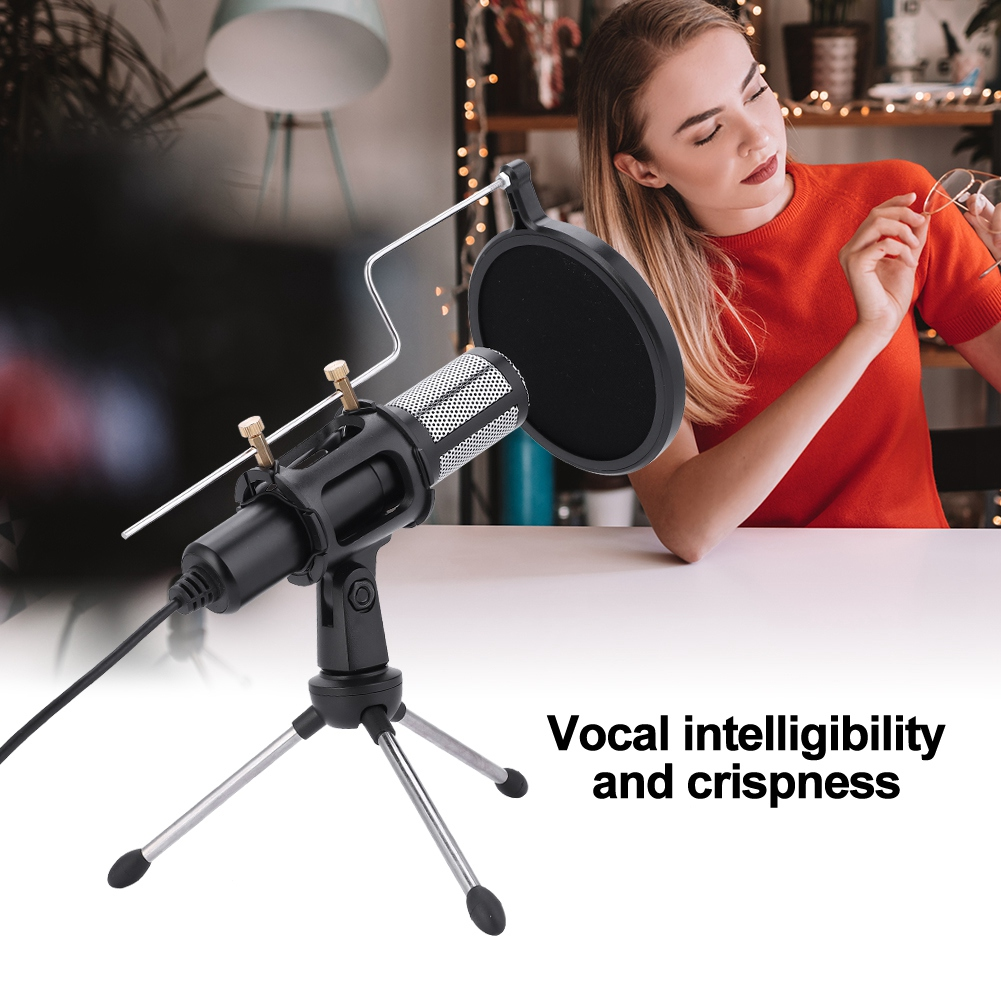Yosoo USB Condenser Microphone,USB Plug Condenser Microphone with TripodStand for Game Chat Studio Recording Computer,Condenser Microphone