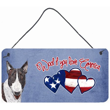 Caroline's Treasures Woof if you love America Bull Terrier by Sylvia Corban Painting Print Plaque