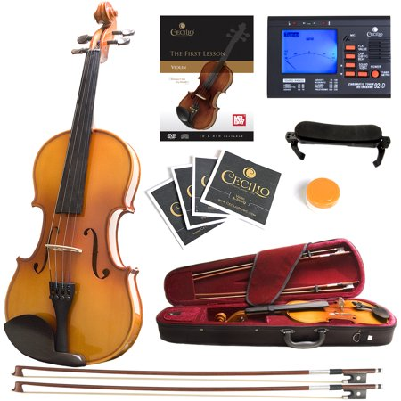 Mendini Full Size 4/4 MV400 Ebony Fitted Solid Wood Violin with Tuner, Lesson Book, 2 Bows, Shoulder Rest and Extra Strings