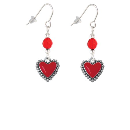 Red Heart with Beaded Border Red Bead French Earrings ()