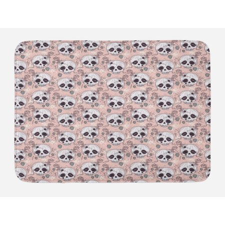 Skull Bath Mat, Halloween Traditional Mexican Sugar Day of the Dead Roses Horror Folk Pattern, Non-Slip Plush Mat Bathroom Kitchen Laundry Room Decor, 29.5 X 17.5 Inches, Blush White Onyx, Ambesonne for $<!---->