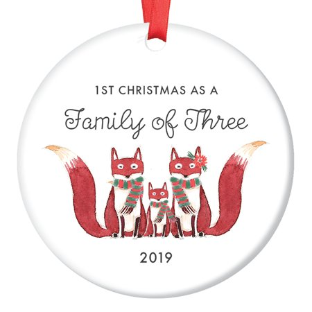 Baby Shower Ornaments (Family of Three Ornament 2019, First Christmas as a Family of 3, Fox Ornament Gift, Cute Foxes Mommy Daddy New Baby Shower Ceramic Present Keepsake 3