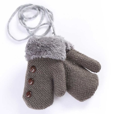Cuffed Mittens - KABOER Winter Warm Baby Toddler Boy Girl Thick Cuffed Plush Gloves Neck String Mittens