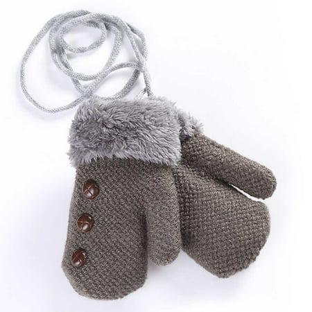 Cuffed Mittens - KABOER Winter Warm Baby Toddler Boy Girl Thick Cuffed Plush Gloves Neck String Mittens