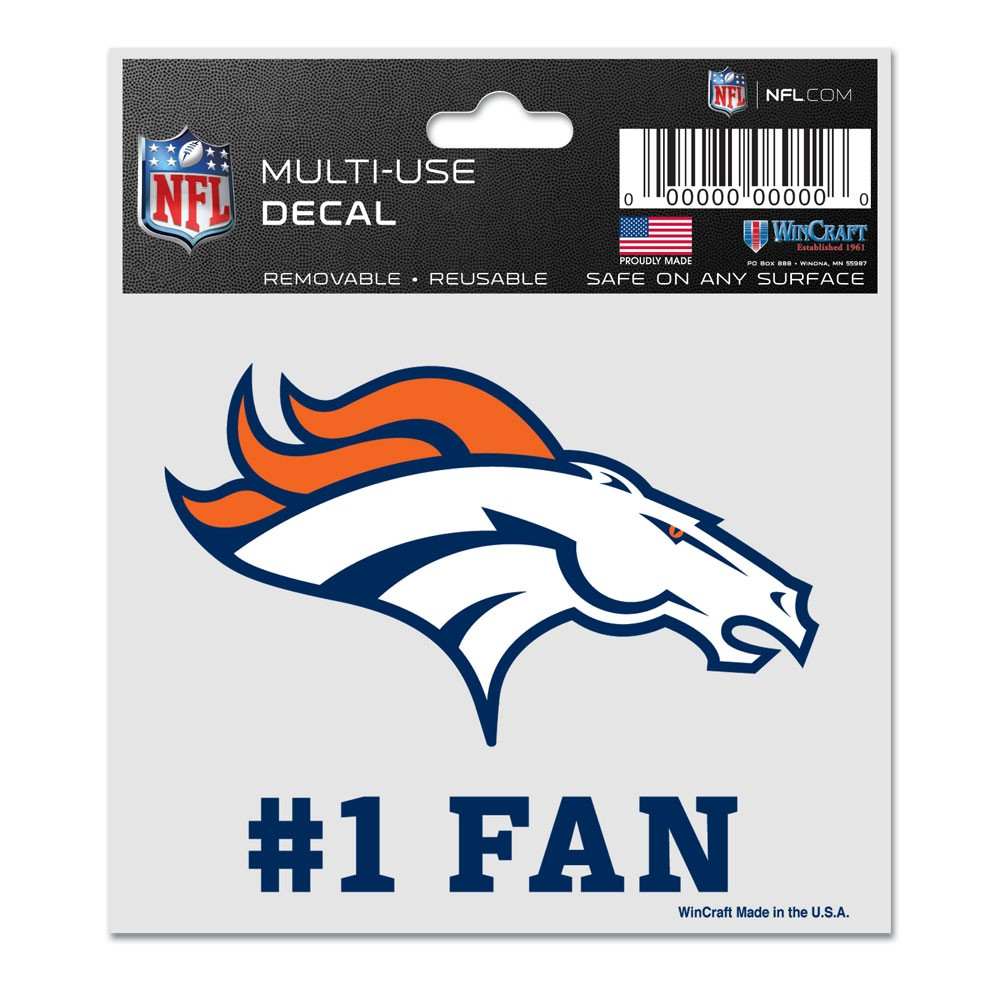 Denver Broncos Official NFL 3 inch x 4 inch  Car Window Cling Decal by Wincraft