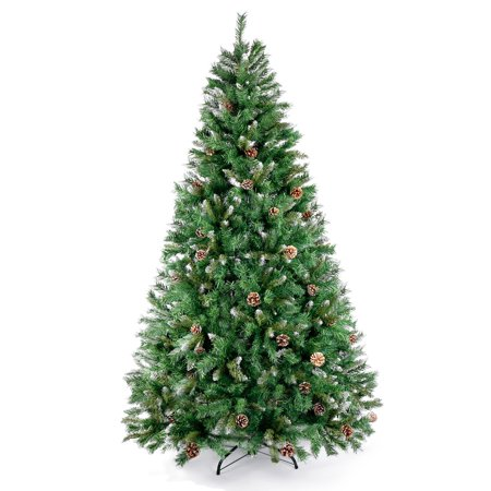 210 CM Classic Pine Christmas Tree with Flocked Cones Artificial Realistic Natural Branches Xmas Tree US (Best Way To Store Artificial Christmas Tree)