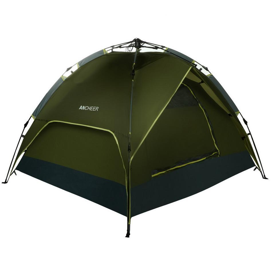 Waterproof Camping Hiking Tent Double Layers 3-4 Person Quick Pop Up Tent Army Green by