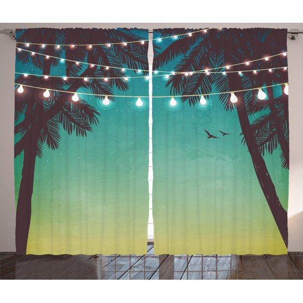 Apartment Decor Curtains 2 Panels Set Night Time Beach Sunset