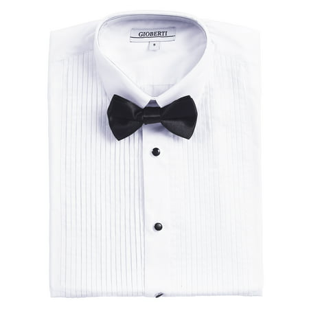 Gioberti Boy's White Tuxedo Dress Shirt, with Bow Tie and Metal Studs Tuxedo Shirt Studs