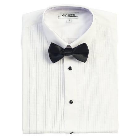 Formal Shirts Ties - Gioberti Boy's Formal Tuxedo White Shirt with Bow Tie