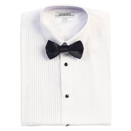 Gioberti Boy's Formal Tuxedo White Shirt with Bow - Boys Tuxedo Shirt And Bow Tie