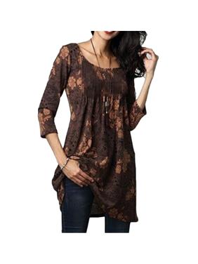 Women's Half Sleeve Tee Shirt Dress High waist Loose Fit Casual Tunic Tops