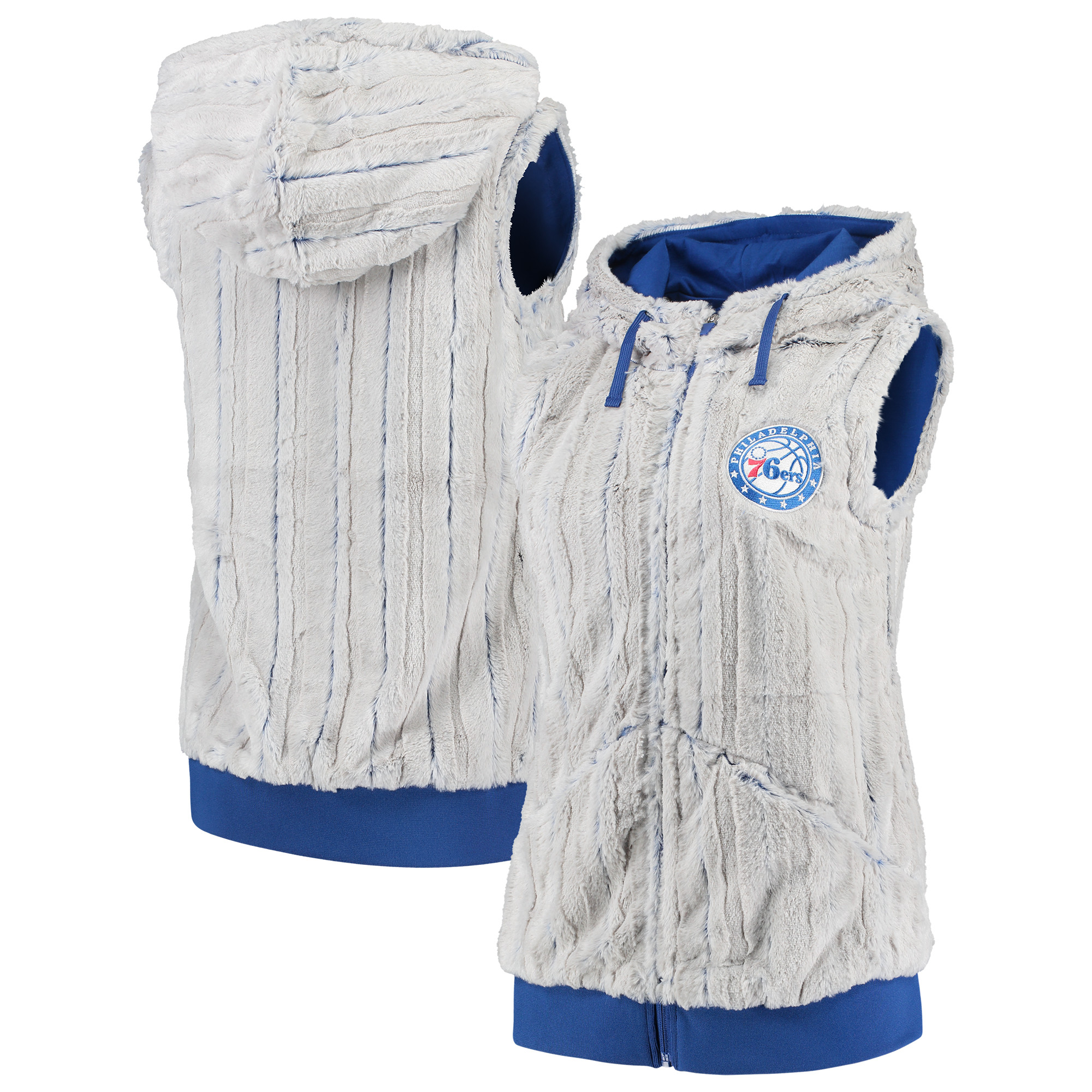 Philadelphia 76ers Antigua Women's Rant Hooded Full-Zip Vest - Silver/Royal