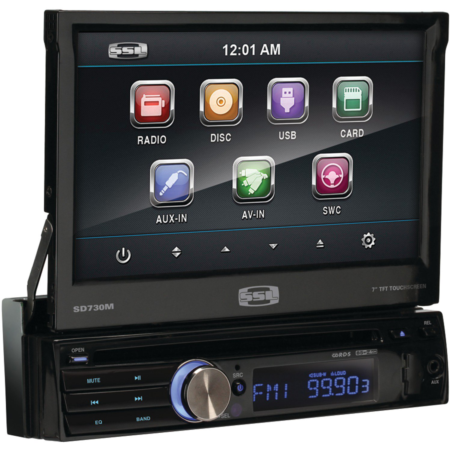 SOUNDSTORM SD730M 7 Inch. Single-DIN In-Dash Motorized Flip-Out Touchscreen Multimedia Receiver (Without Bluetooth(R))