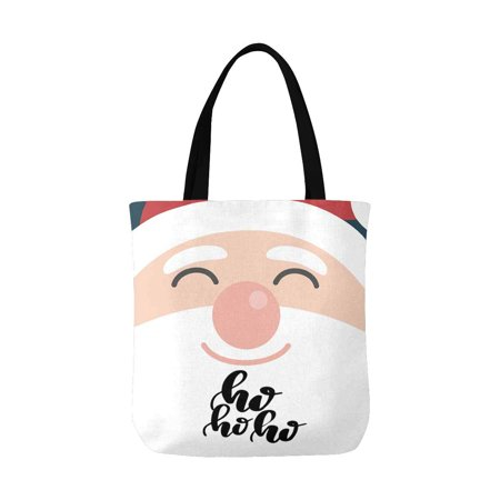 ASHLEIGH Funny Christmas Quote Ho Ho Ho with Face Santa Claus Canvas Tote Bag Tote Shopping Bag Washable Grocery Tote Bag, Craft Canvas Bag for Women Men Kids