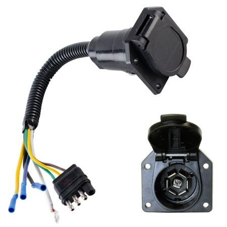 Superb 4 Wire Flat To 7 Way Converter Adapter Rv Trailer Light Plug Custom Wiring Digital Resources Bemuashebarightsorg