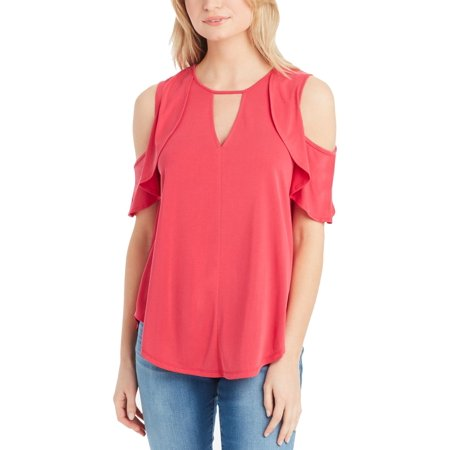 JESSICA SIMPSON Womens Pink Ruffled Cold Shoulder Short Sleeve Keyhole Top  Size: M Keyhole Halter Suit
