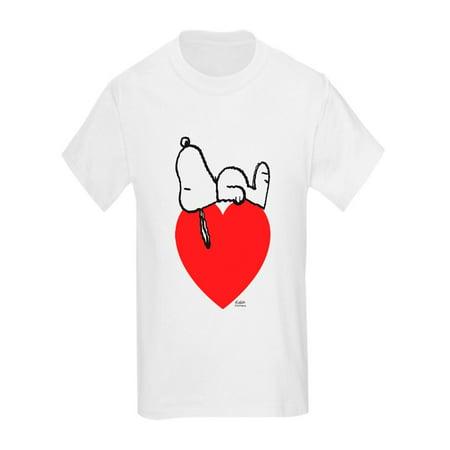 CafePress - Snoopy On Heart T-Shirt - Kids Light T-Shirt - Snoopy Hat