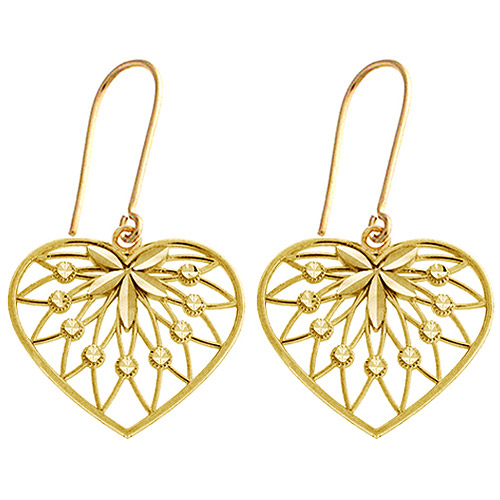 Swiss-Cut Sparkle Heart 10kt Yellow Gold Drop Earrings