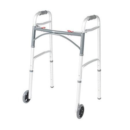 1 Button Walker - Front Wheeled Walker Folding Deluxe with 2 Button and 5