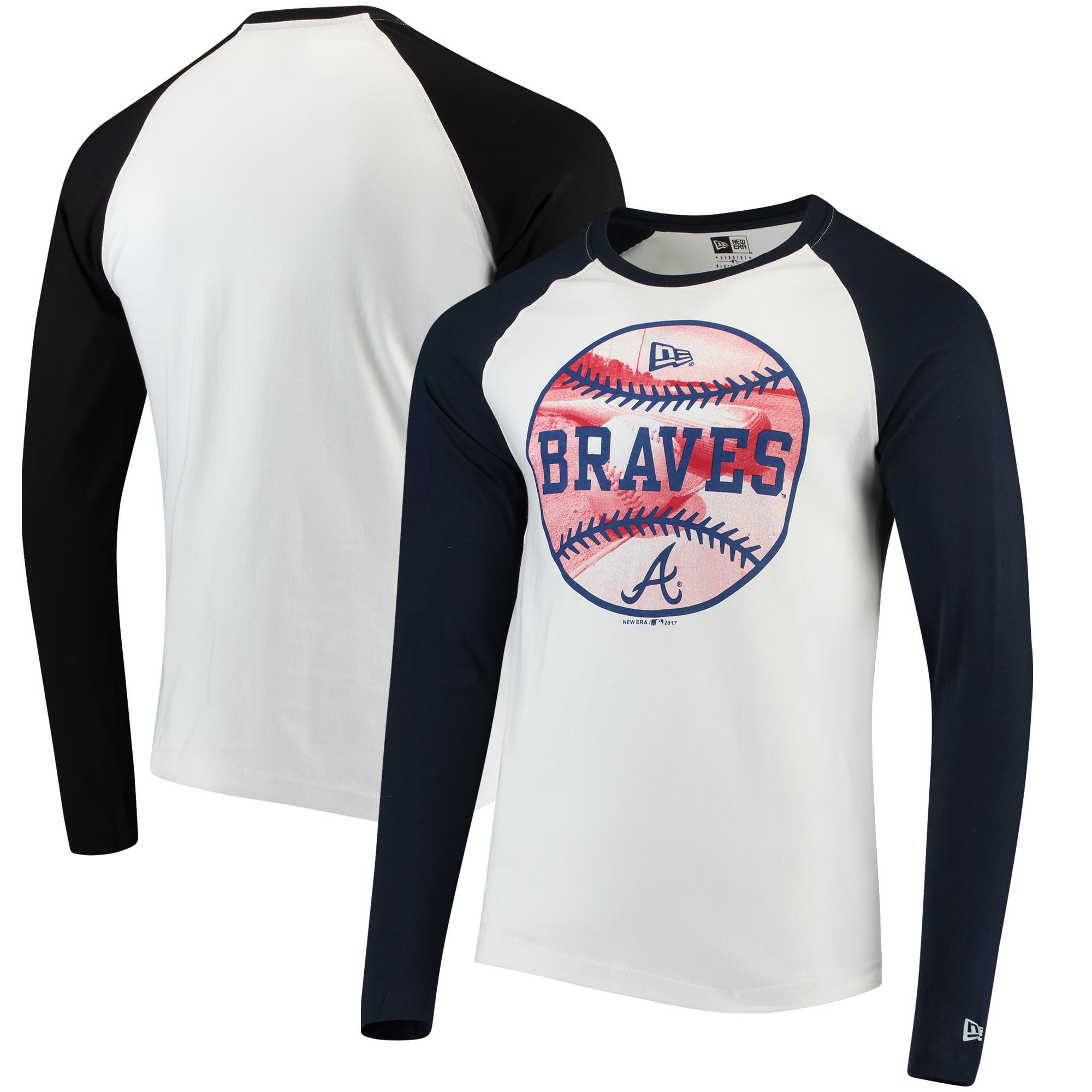 Atlanta Braves New Era Raglan Long Sleeve T-Shirt - White/Navy