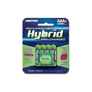Rayovac Rechargeable Hybrid Batteries, AAA-size, 4-count Carded Pack (Pack of 2)
