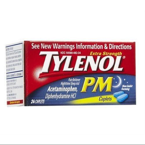 TYLENOL Extra Strength PM Caplets 24 ea (Pack of 2)