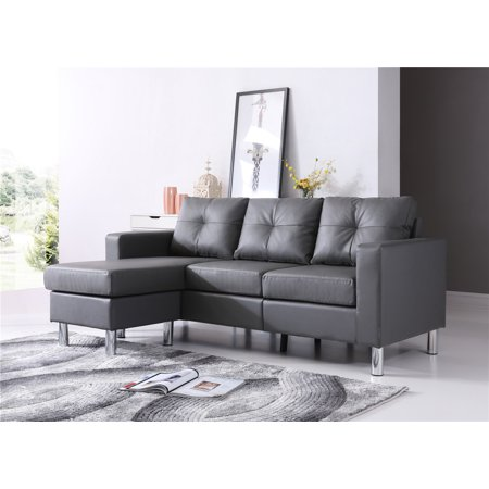 Braxton Small Space Convertible Sectional, Gray color ()