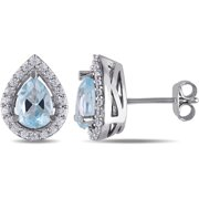 2-1/5 Carat T.G.W. Sky Blue Topaz and Created White Sapphire Sterling Silver Halo Stud Earrings