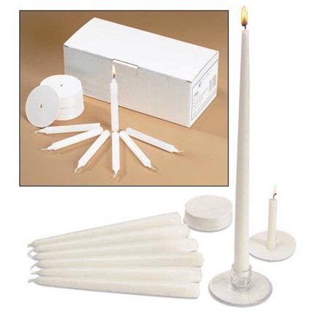 Church Vigil Devotional Unscented 1/2 x 4 1/4 Inch White Candle with Drip Protector - 100 per Box By Religious