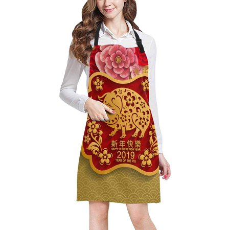 Halloween 2019 Kitchen (ASHLEIGH Happy New Year 2019 Year of The Pig Zodiac Paper Cut Style Chef Aprons Professional Kitchen Chef Bib Apron with Pockets Adjustable Neck)
