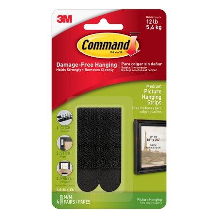 3M Command Picture Hanging Strips Medium Black 6 Pkg