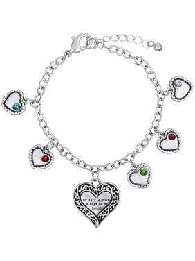 Personalized Sandra Magsamen's Mother Birthstone Silver-Tone Bracelet
