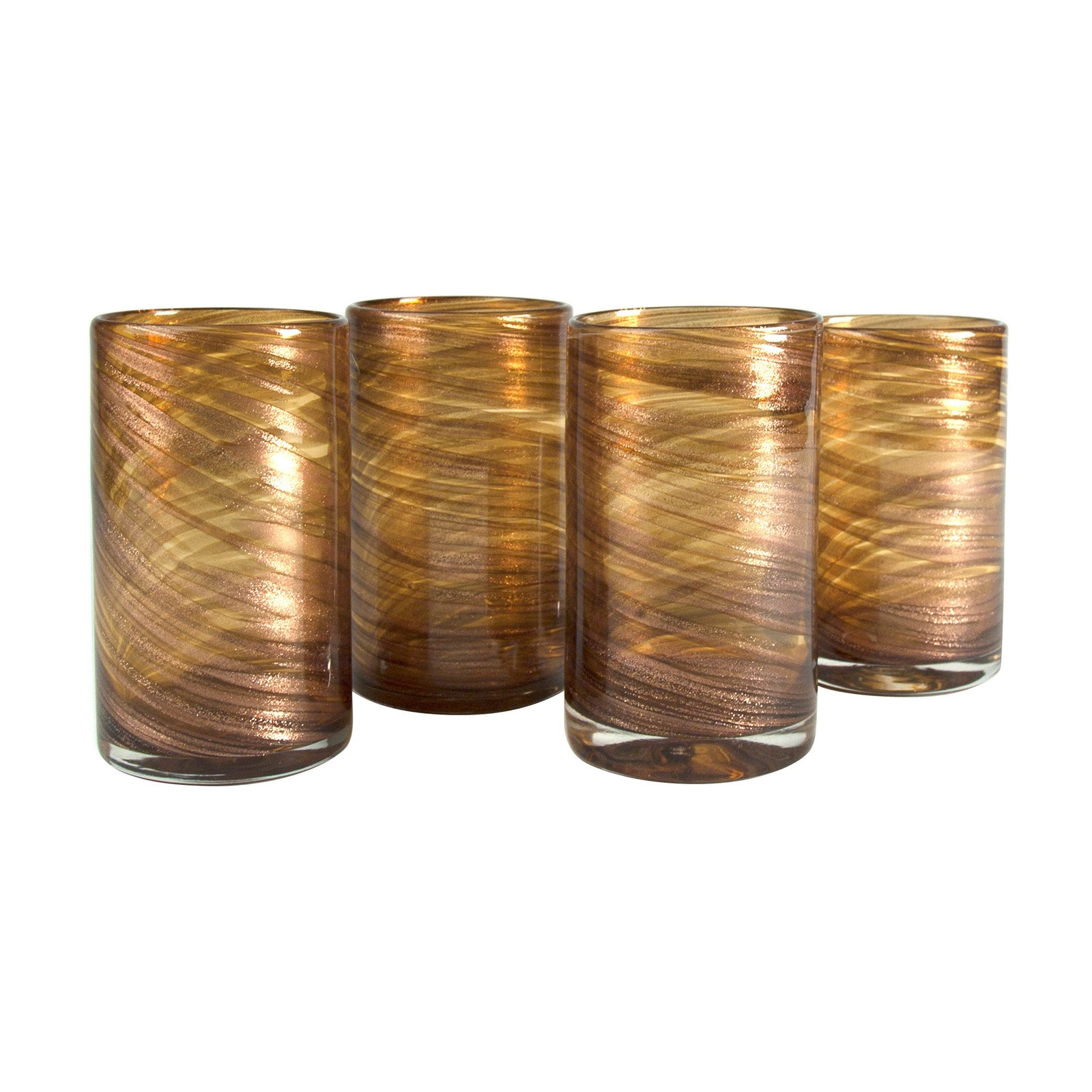 Artland 19 oz. Shimmer Highball - Amber - Set of 4