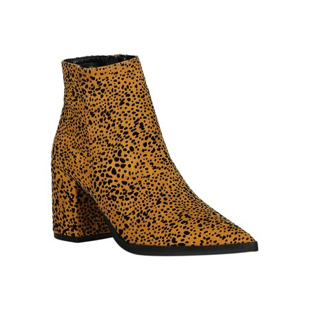 Women Wild Animal Print Pointy Toe Chunky Heel Ankle Boots 18336 ()