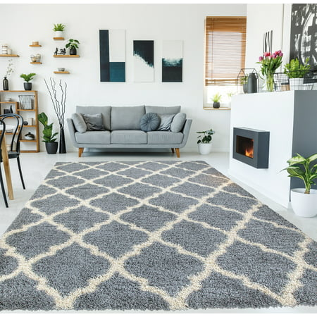 Ottomanson Ultimate Shaggy Contemporary Moroccan Trellis Design Area Rug ()