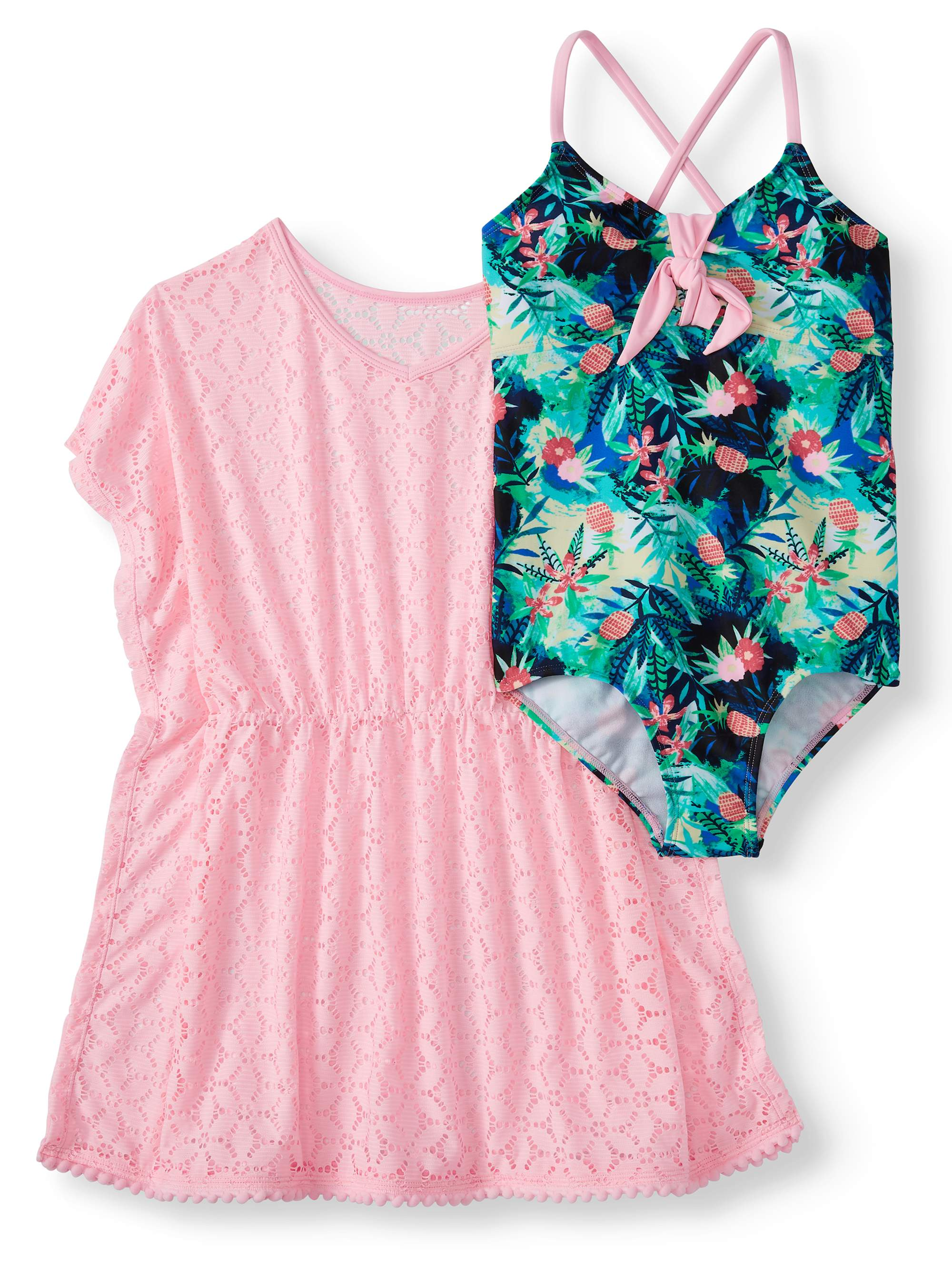 Girls' Crossback One-Piece Swimsuit and Kaftan Coverup, 2-Piece Set