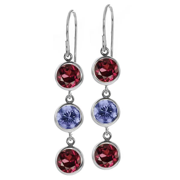 3.48 Ct Round Red Rhodolite Garnet Blue Tanzanite 925 Sterling Silver Earrings