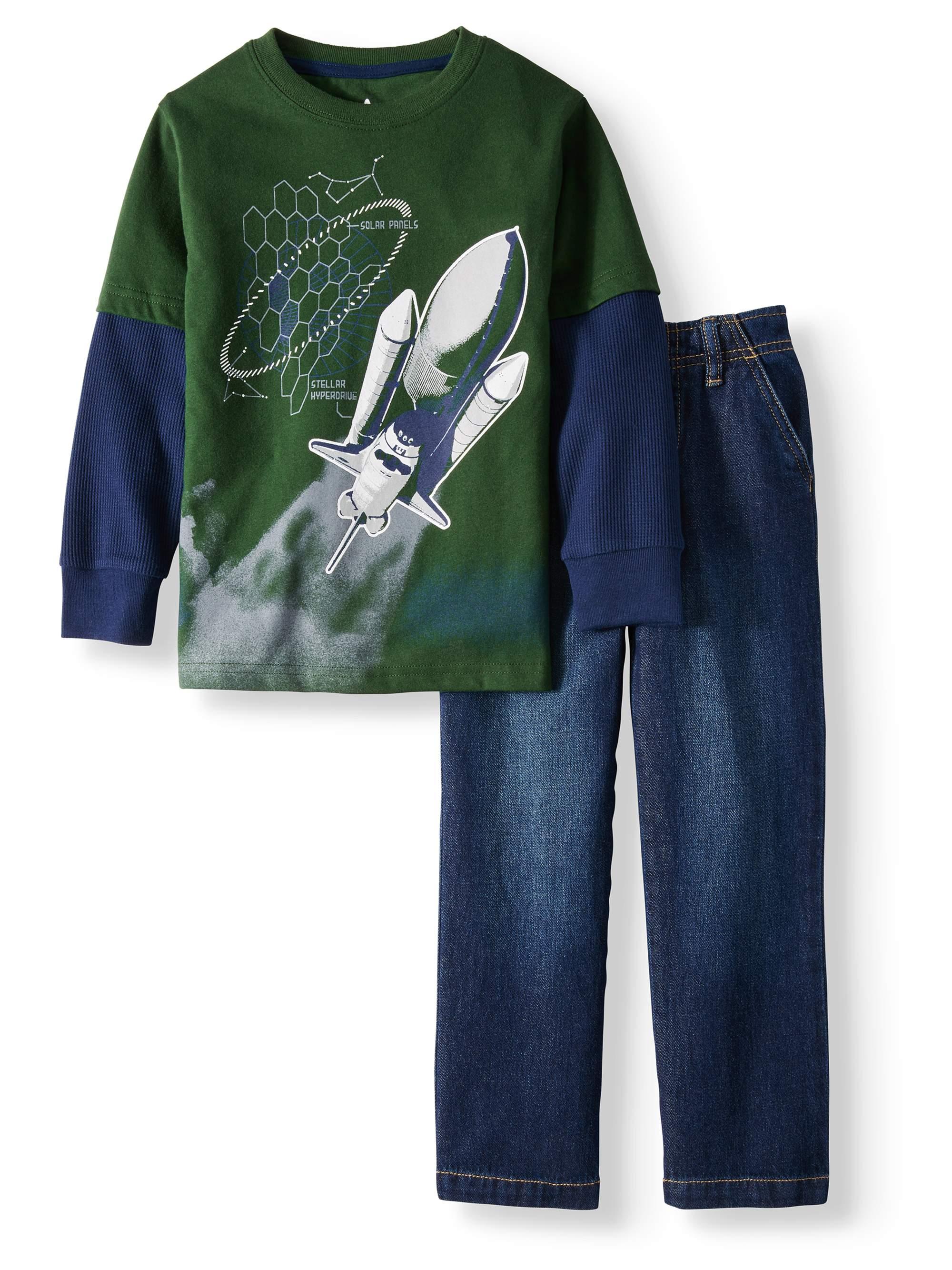 365 Kids From Garanimals Long Sleeve Hangdown Graphic T-Shirt & Pants, 2pc Outfit Set (Little Boys & Big Boys)