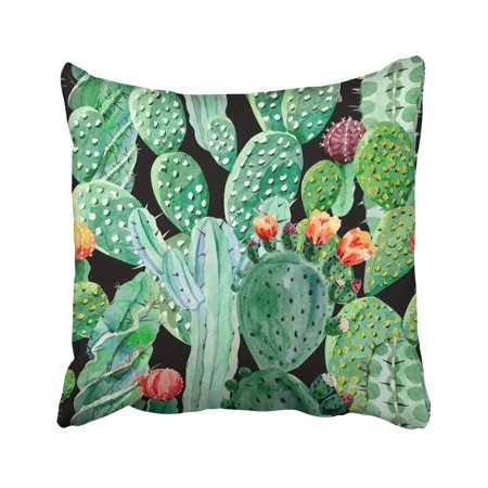 ARTJIA Green Beach Watercolor Cactus Blooming Exotic Floral Flower Jungle Nature Plant Pillowcase Cover 16x16 inch - Cactus Jungle