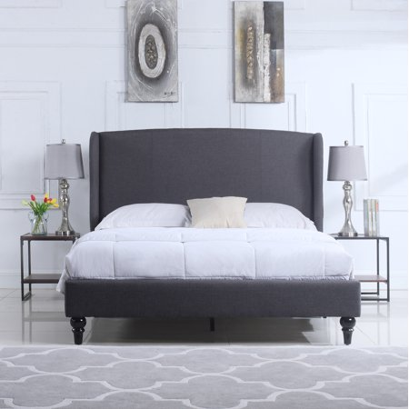 Classic Grey Linen Platform Bed Frame with Upholstered Shelter Headboard, Full