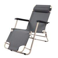 YLSHRF Round Tube Dual-purpose Folding Chair Dark Grey Reclining Lounge Chair for Leisure, Recliner Beach Chair, Beach Chair Foldable