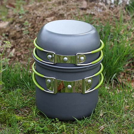 Portable Outdoor Cooking Set Anodised Aluminum Non Stick Pot Bowl Cookware Camping Picnic Hiking Utensils
