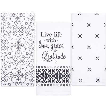 Sticky Toffee Cotton Flour Sack Kitchen Towels, Live Life Gratitude Prints, 3 Pack, 28 in x 29