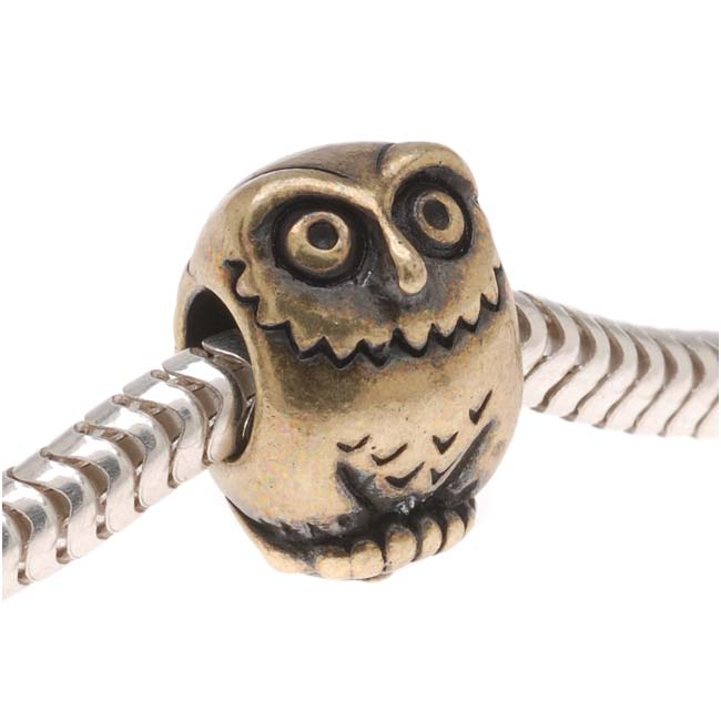 Brass Oxide Finish Pewter European Style Large Hole Owl Bead 12mm/ 1