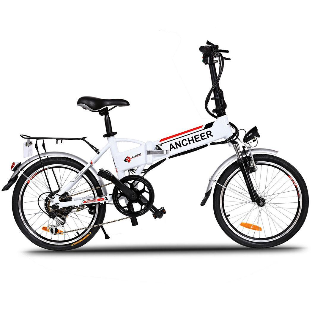 "ANCHEER 18.7"" Folding Mountain Electric Bike Power Bicycle for Men"