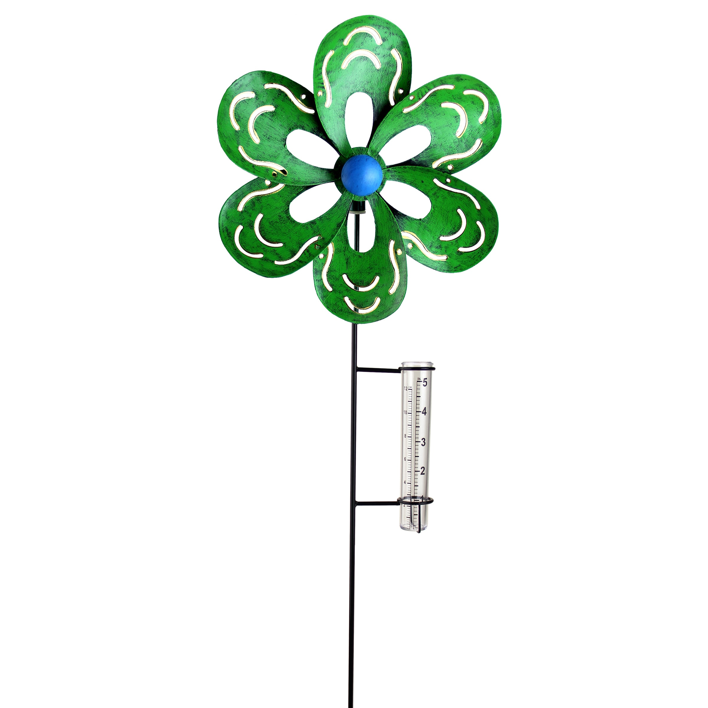 Exhart Green Kinetic Flower with Rain Gauge by Overstock