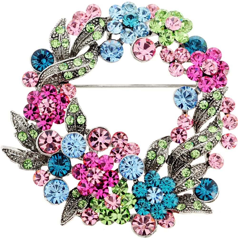 Multicolor Flower Wreath Crystal Pin Brooch and Pendant by